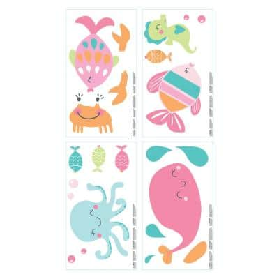 Sea Collection Pink, Aqua, Lime and Orange Wall Decals (Set of 4)