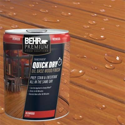 5 gal. Transparent Quick Dry Oil Base Wood Finish Redwood Exterior Stain