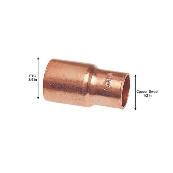 """1/"""" x 1//2/"""" Street Reducer Coupling Copper Fitting"""