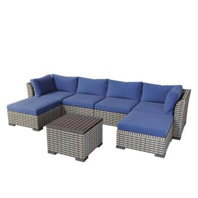 7-Piece Wicker Rattan Patio Outdoor Sofa Group with Blue Cushions