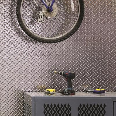 Diamond Plate 96 in. x 48 in. x 0.013 Decorative Vinyl Wall Panel in Brushed Aluminum