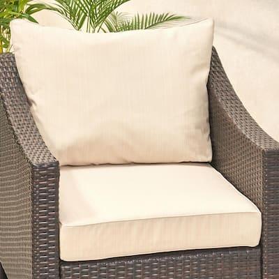 Smythe 27 in. x 21.5 in. 2-Piece Outdoor Club Chair Cushion Set in Beige