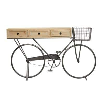 58 in. x 33.5 in. Black Metal Bicycle 3-Drawer Wood Top Console Table