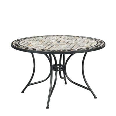 Marble Top Round Outdoor Dining Table