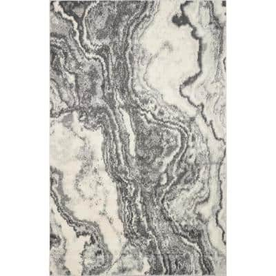 Watercolors Ivory/Grey 5 ft. x 8 ft. Marble Area Rug