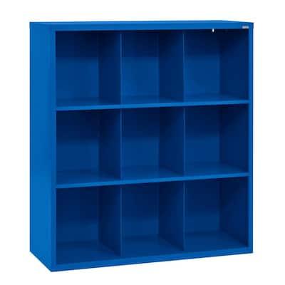 52 in. H x 46 in. W x 18 in. D Blue Steel 9-Cube Storage Organizer
