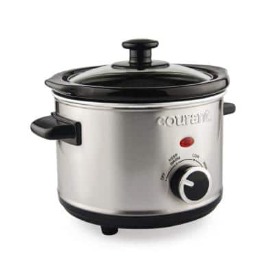 1.5 Qt. Brushed Stainless Steel Slow Cooker with Temperature Settings and Tempered Glass Lid
