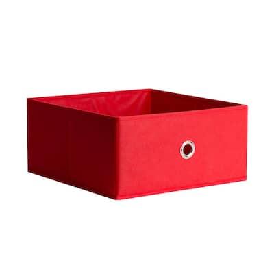 13 in. D x 6 in. H x 13 in. W Red Fabric Cube Storage Bin
