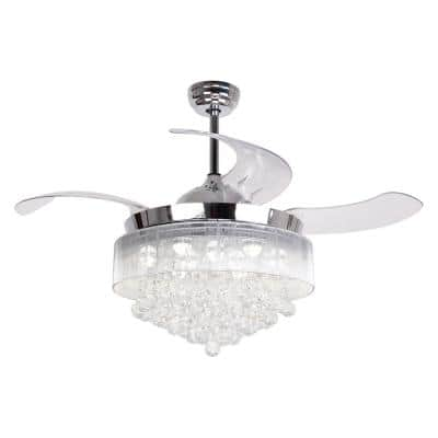 Broxburne 46 in. LED Indoor Chrome Retractable Ceiling Fan with Light Kit Remote Control