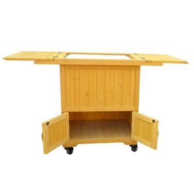 55 Qt. 4 Wheeled Wooden Cooler-Warmer Cart