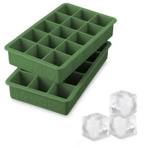 Perfect Cube Silicone Ice Mold Freezer Tray 1.25 Cubes for Whiskey, Bourbon, Spirits & Liquor, 2-Piece Set, Pesto Green