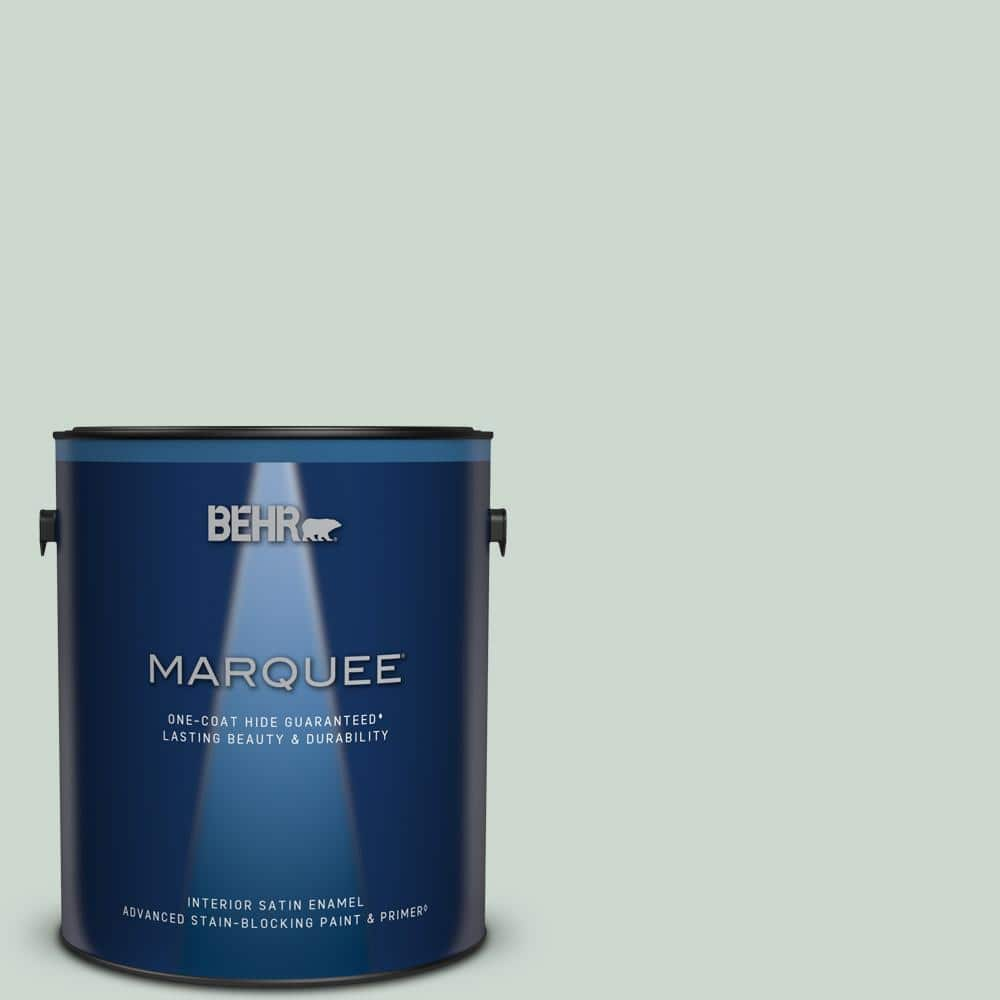 Behr Marquee 1 Gal Mq3 21 Breezeway One Coat Hide Satin Enamel Interior Paint Primer 745001 The Home Depot