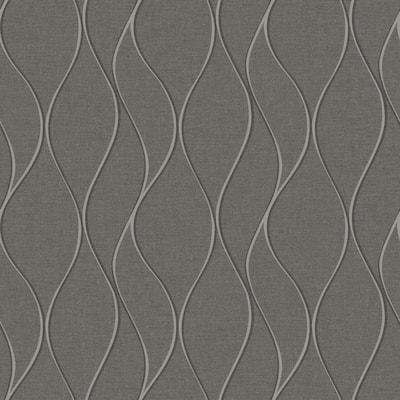 Grey Wave Ogee Vinyl Peel & Stick Wallpaper Roll (Covers 28.18 Sq. Ft.)