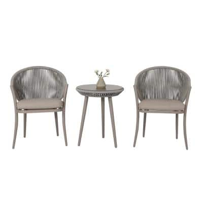 3-Piece Aluminum Outdoor Bistro Set with Coffee Cushion
