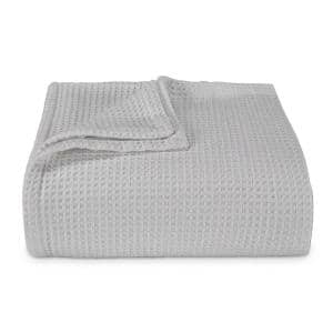 Waffleweave 1-Piece Light Gray Cotton Full/Queen Blanket