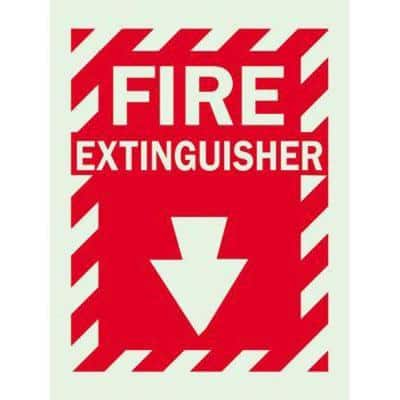 14 in. x 10 in. Glow-in-the-Dark Self-Stick Polyester Fire Extinguisher with Arrow Sign