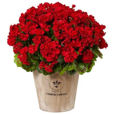 Indoor/Outdoor UV Resistant Red Geranium Silk Flowering Plant in Farmhouse Planter