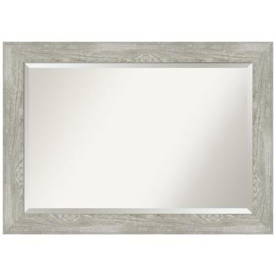 Medium Rectangle Distressed Grey Beveled Glass Modern Mirror (29.88 in. H x 41.88 in. W)