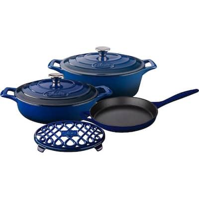 PRO Range 6-Piece Cast Iron Cookware Set in Ultramarine Blue