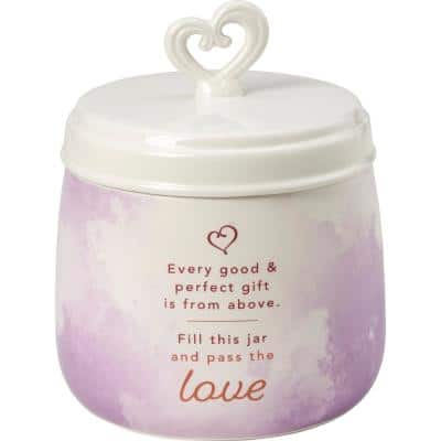 Every Good & Perfect Gift Is From Above White And Purple Decorative Sharing Jar