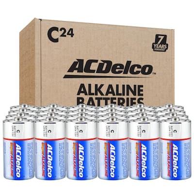 24 Packs of C Super Alkaline Battery, 7 Years Shelf Life, with Organizer Box