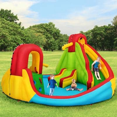 Multi-Color Kids Inflatable Water Slide Bounce Park Splash Pool with Water Cannon and 480-Watt Blower