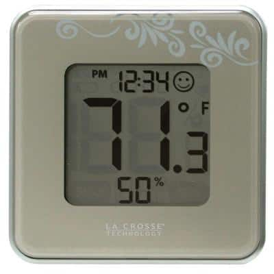Digital Thermometer and Hygrometer in Silver