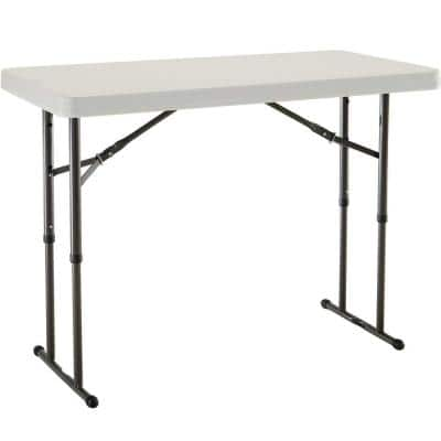 4 ft. Almond Resin Adjustable Height Commercial Folding Table