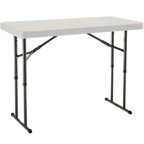 Lifetime 4 Ft Almond Resin Adjustable Height Commercial Folding Table 80161 The Home Depot