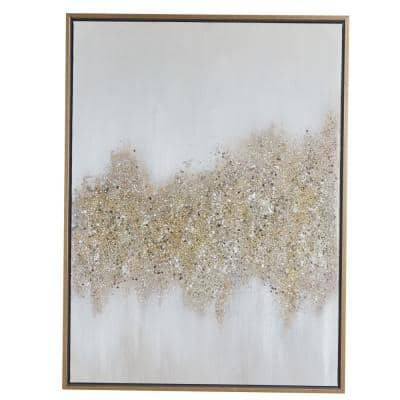 30 in. x 40 in. Rectangular Gold and Grey Abstract Textured Canvas Wall Art With Gold Wood Frame