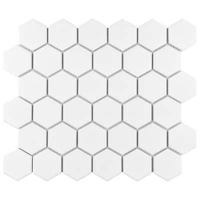 "Metro 2"" Hex Matte White 11-1/8 in. x 12-5/8 in. Porcelain Mosaic (9.96 sq. ft. /Case)"