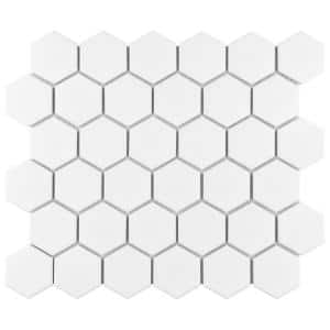 Metro 2'' Hex Matte White 11-1/8 in. x 12-5/8 in. Porcelain Mosaic (9.96 sq. ft. /Case)