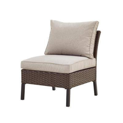 1-Piece Wicker/Rattan Outdoor Sectional with Beige Cushion
