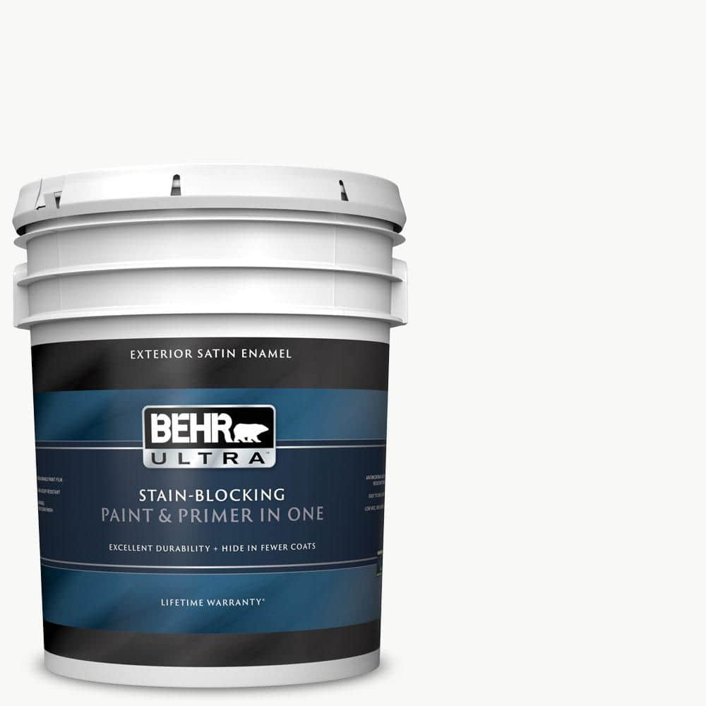 Behr Ultra 5 Gal Ultra Pure White Satin Enamel Exterior Paint And Primer In One 985005 The Home Depot