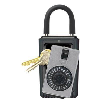 Portable 3-Key Lock Box with Spin Dial Combination Lock, Titanium