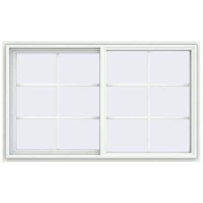 59.5 in. x 35.5 in. V-4500 Series White Vinyl Left-Handed Sliding Window with Colonial Grids/Grilles