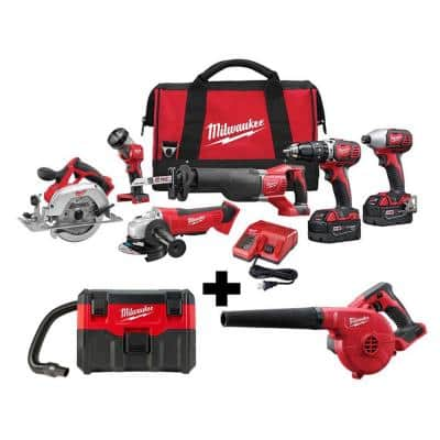 M18 18-Volt Lithium-Ion Cordless Combo Tool Kit (6-Tool) with M18 Wet/Dry Vacuum and Blower