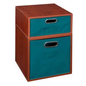 20 in. H x 13 in. W x 13 in. D Cherry Wood 2-Cube Storage Organizer