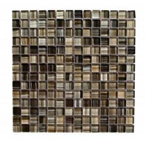 Handicraft II Black Sea Black Square Mosaic 1 in. x 1 in. Glossy Glass Mesh Mounted Wall & Pool Tile (1.05 Sq. ft.)