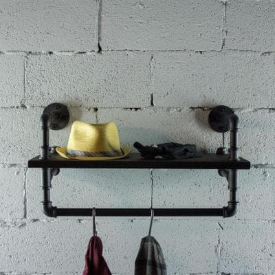 Ann Harbor Industrial 27 in. Black Wall Display Pipe Shelf Rack Multipurpose-Metal with Reclaimed Wood