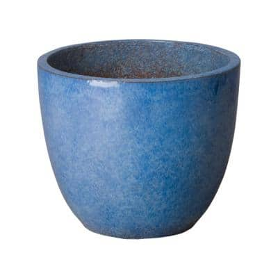 15 in. H Round Blue Ceramic Planter