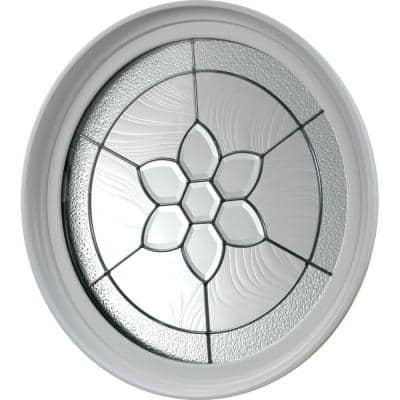 24.5 in. x 24.5 in. Round Geometric Vinyl Window in Platinum Design, White