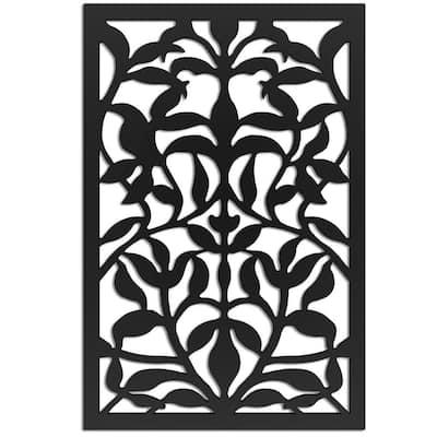 Olive Branch 4 ft. x 32 in. Black Vinyl Decorative Screen Panel