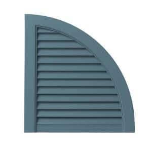 15 in. x 15.5 in. Polypropylene Open Louvered Design in Coastal Blue Arch Shutter Tops Pair