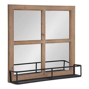 Medium Square Rustic Brown Classic Mirror (20.25 in. H x 20.25 in. W)