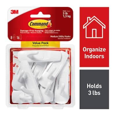 3 lb. Medium White Utility Hook Value Pack (8 Hooks, 16 Strips)