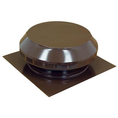 14 in. Dia Aluminum Roof Louver Exhaust Vent in Brown Powder Coat