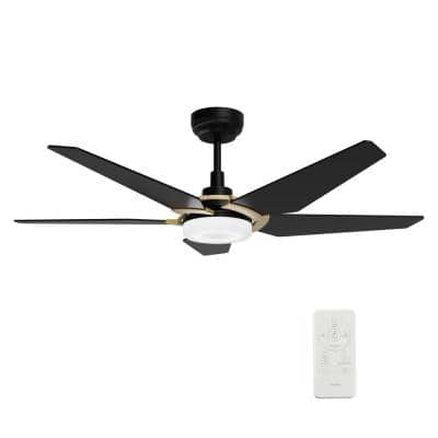 Voyager 52 in. Dimmable LED Indoor/Outdoor Black Smart Ceiling Fan with Light and Remote, Works w/Alexa/Google Home