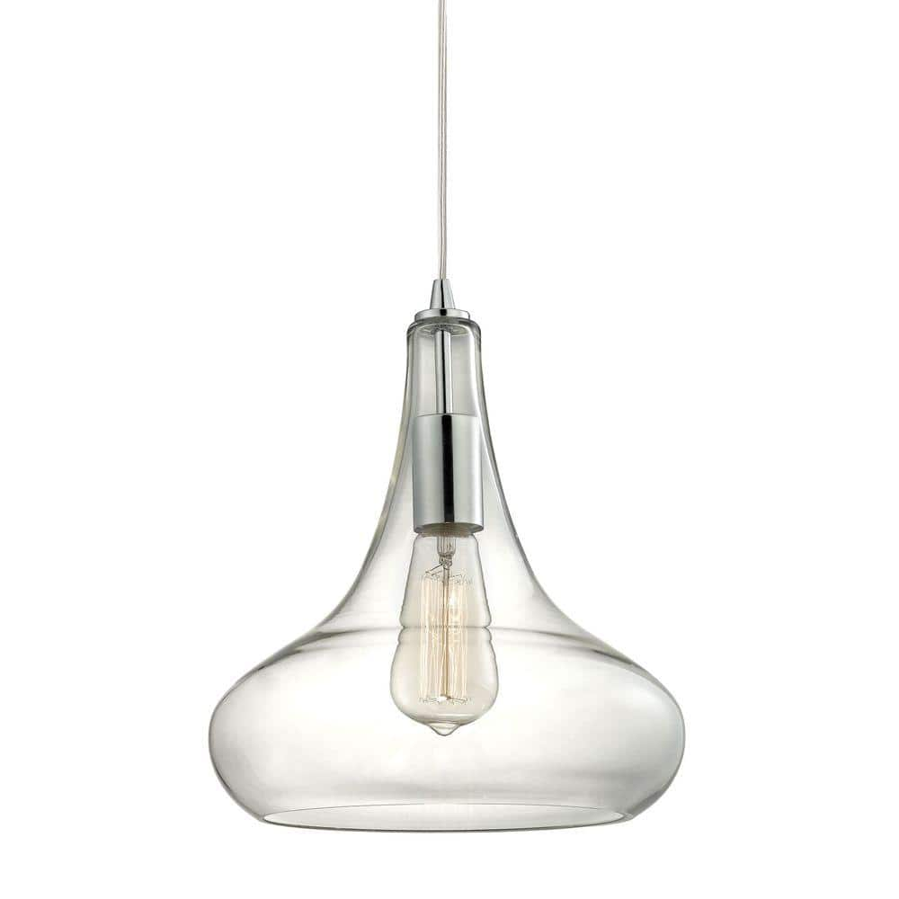 Home Decorators Collection 1 Light Polished Chrome Pendant With Clear Glass Shade And Vintage Bulb Tnp22401 The Home Depot