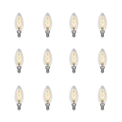 25-Watt Equivalent B10 Dimmable Candelabra Clear Glass Vintage LED Light Bulb with Spiral Filament Soft White (12-Pack)